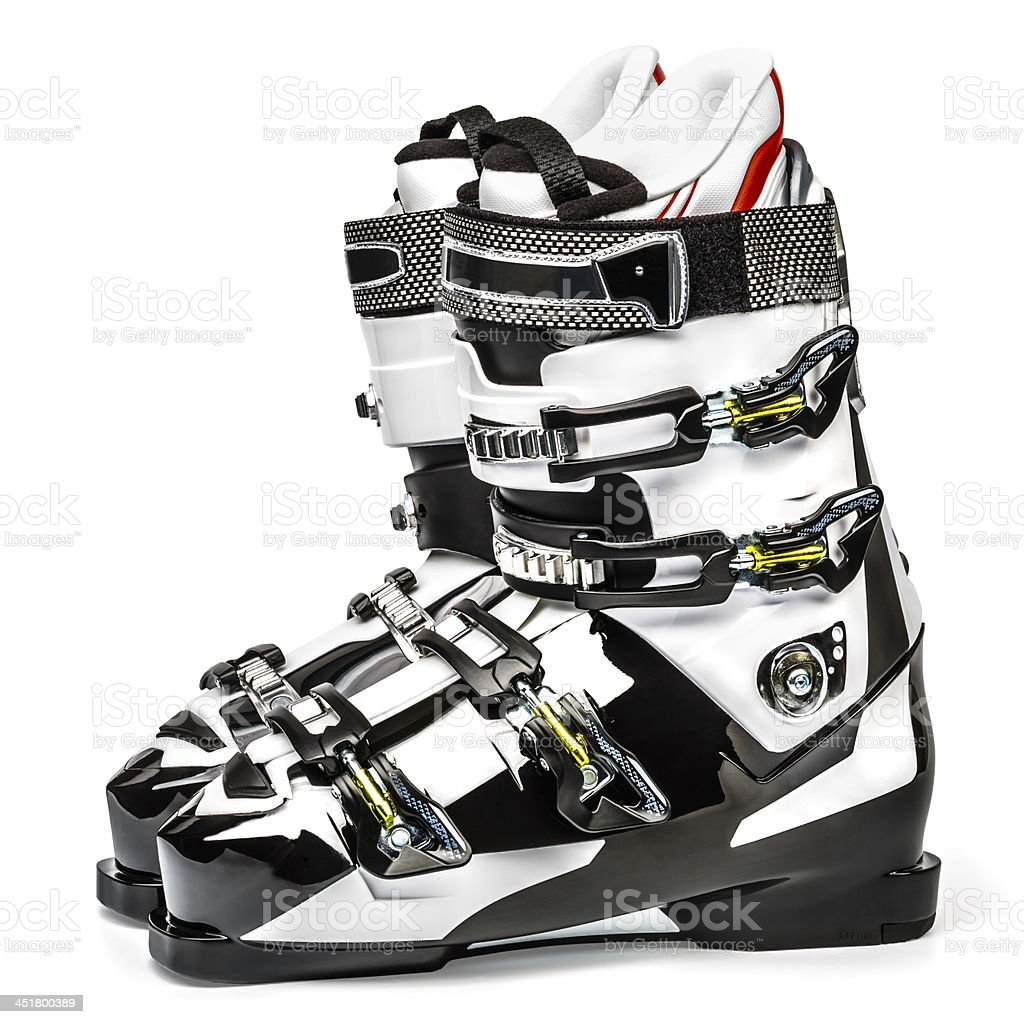 Ski boots, isolated on white background stock photo