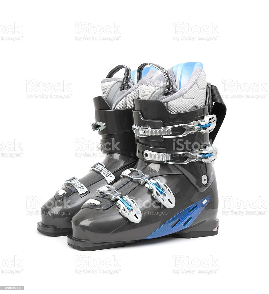 Ski boots isolated on white stock photo