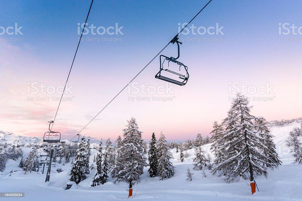 Ski center of Vogel-Slovenia stock photo