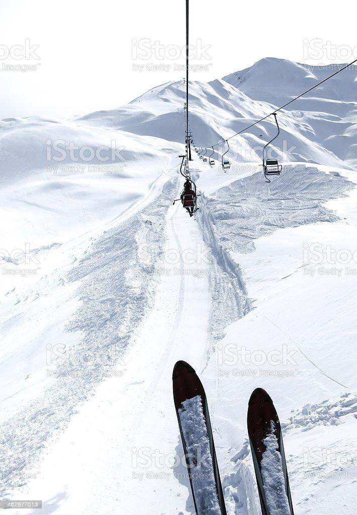 Ski center panoramic view stock photo