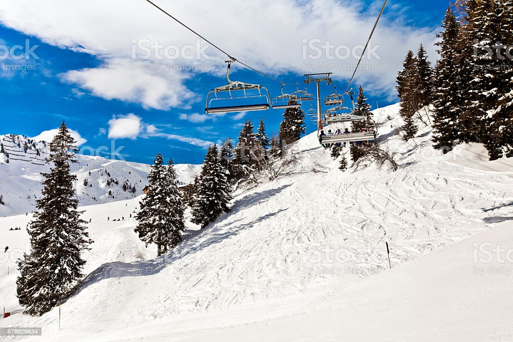 Ski chair lift in Alps, Mayerhofen, Austria stock photo