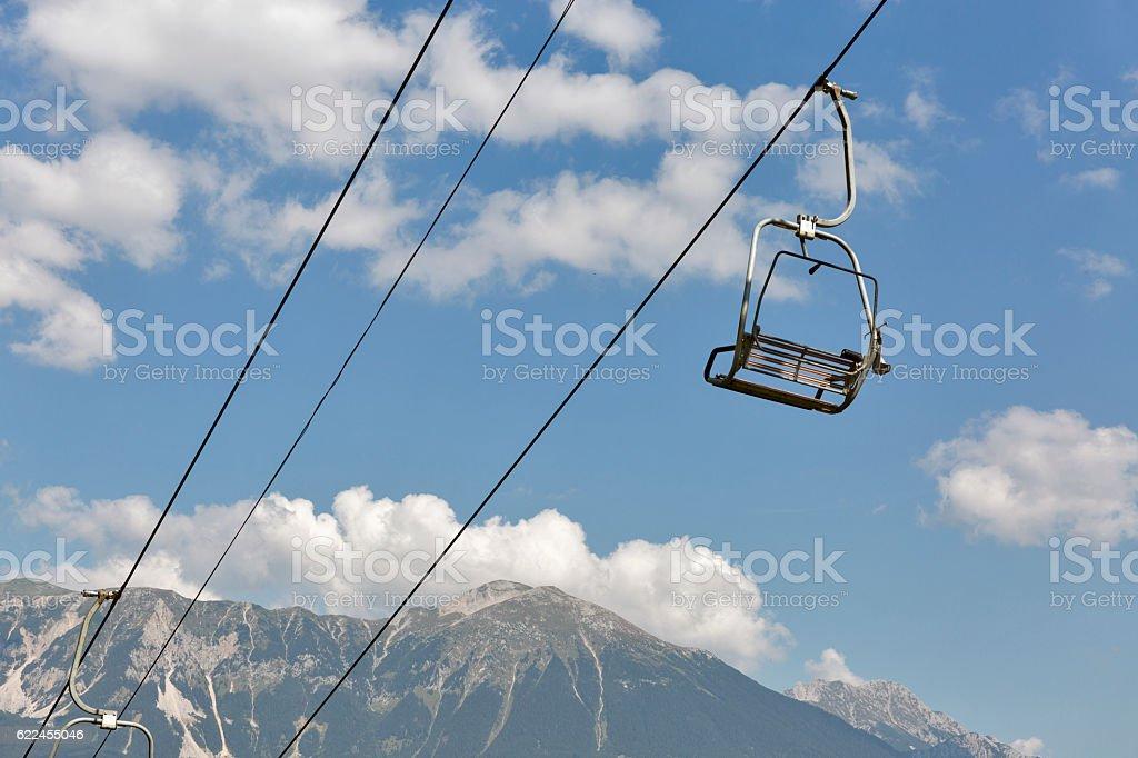Ski chair lift in Julian Alps stock photo