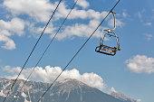 Ski chair lift in Julian Alps