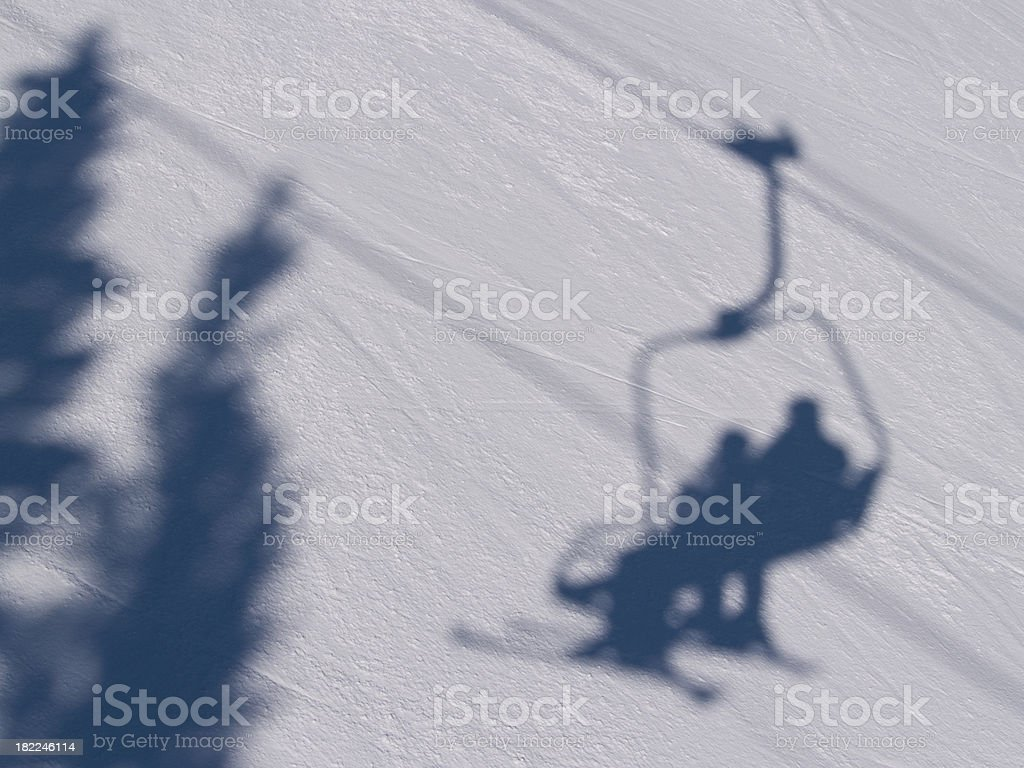 ski chairlift shadow royalty-free stock photo