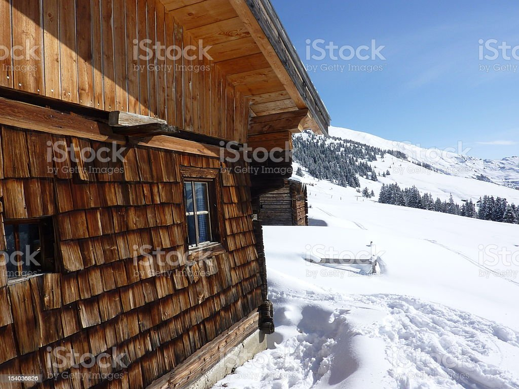 Ski chalet in the winter landscape royalty-free stock photo