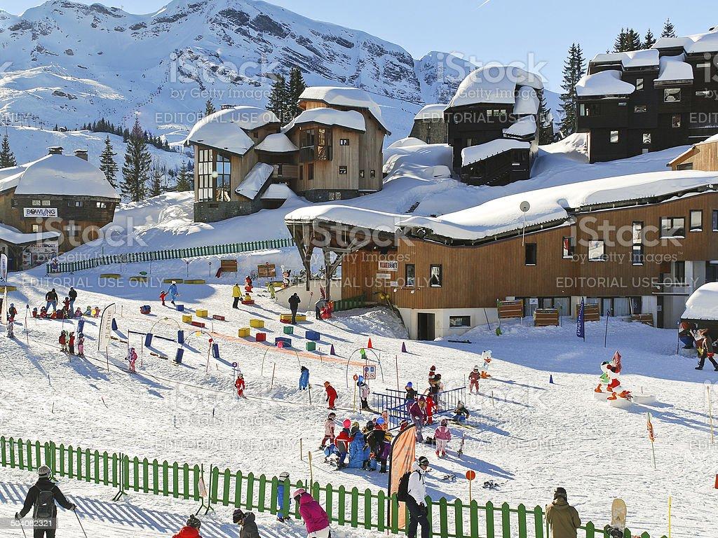 ski children area in Avoriaz town in Alps, France stock photo