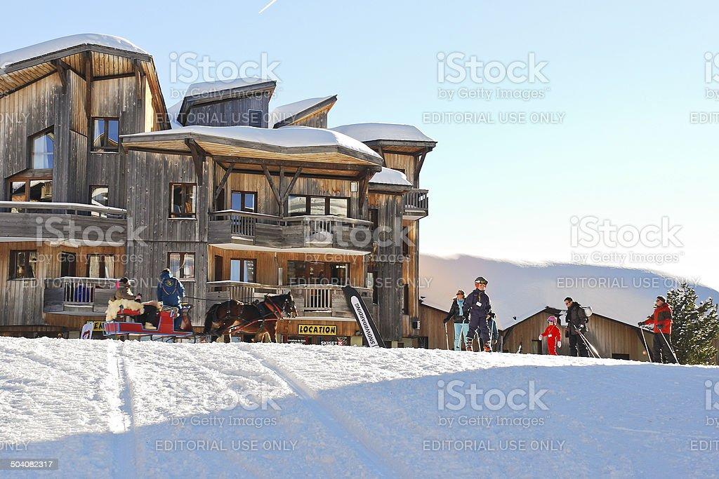 ski children school in Avoriaz town in Alps stock photo