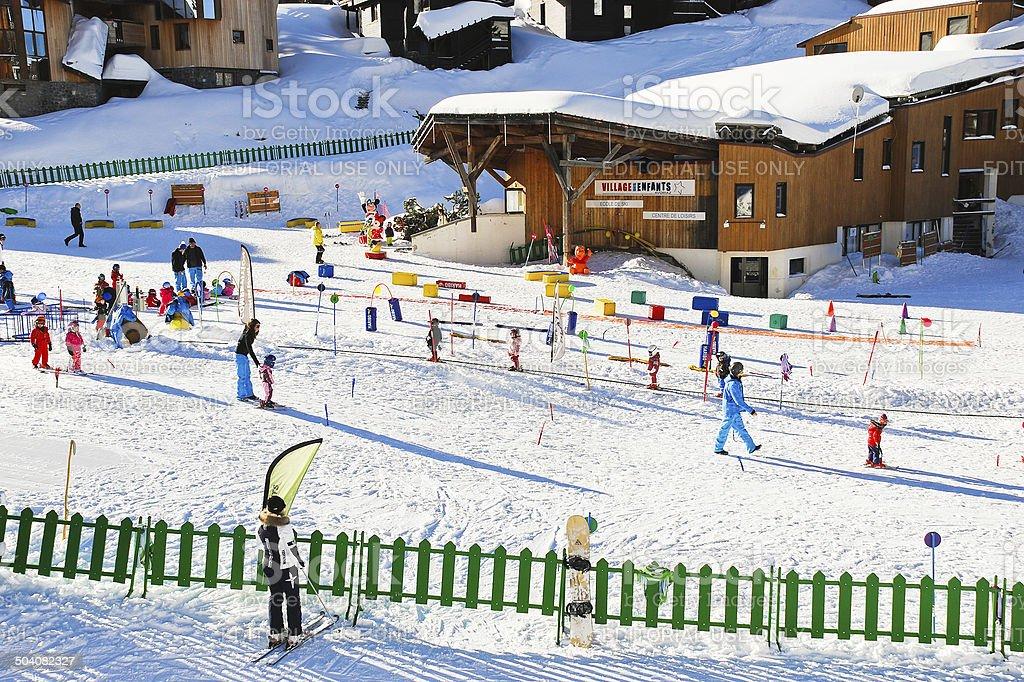 ski children zone in Avoriaz town in Alps, France stock photo
