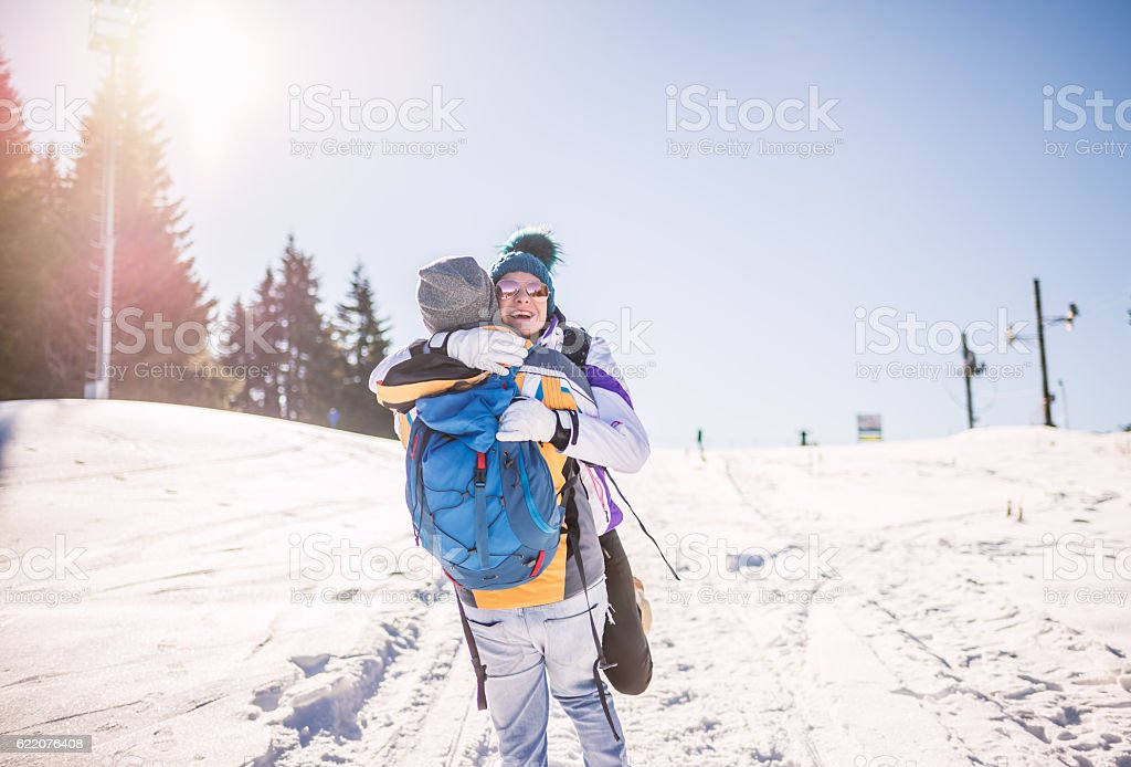 Ski couple on winter vocation stock photo