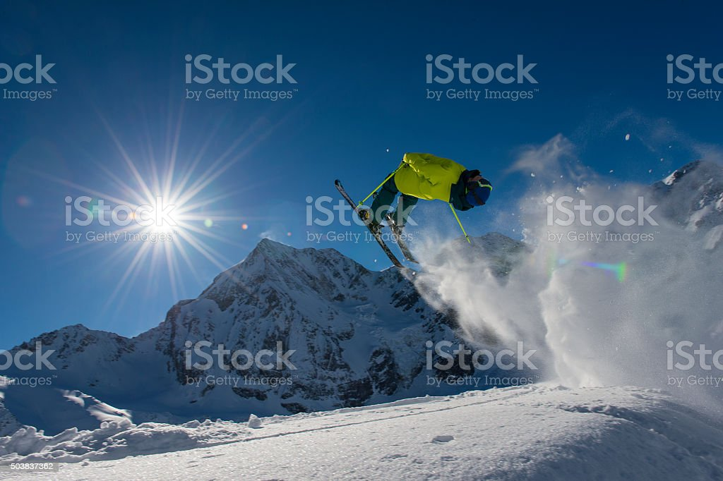 ski cross action stock photo
