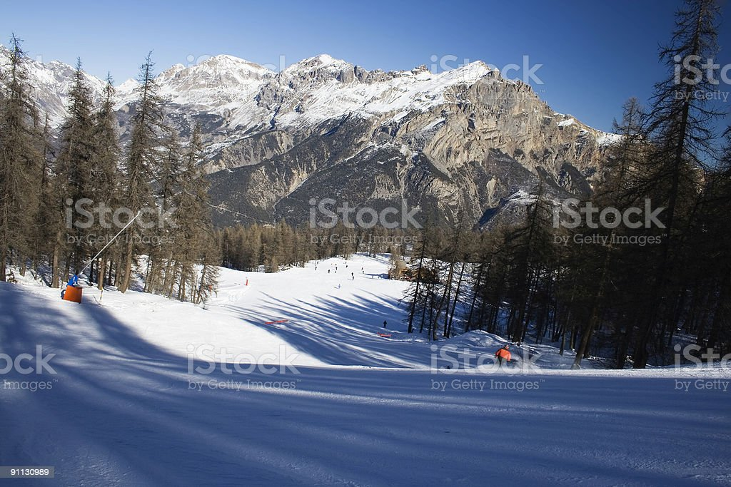 Ski downhill course royalty-free stock photo