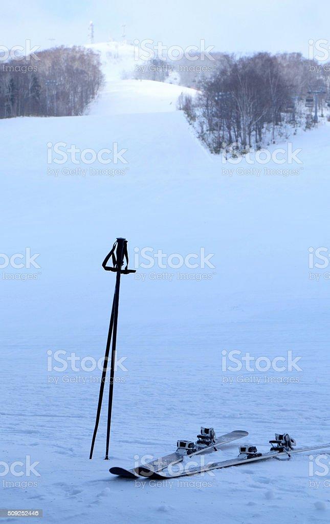 ski equipment among the snow stock photo