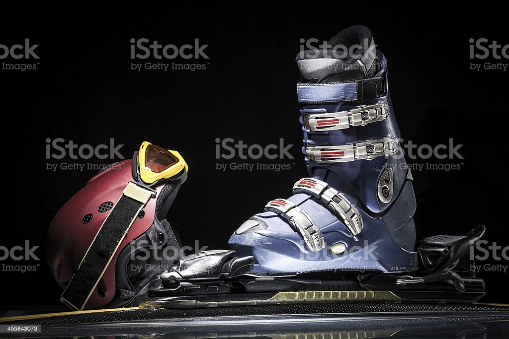 ski equipment stock photo