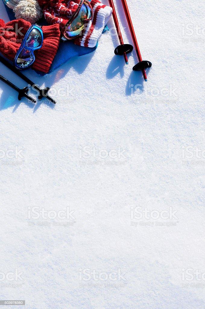 Ski equipment snow background stock photo
