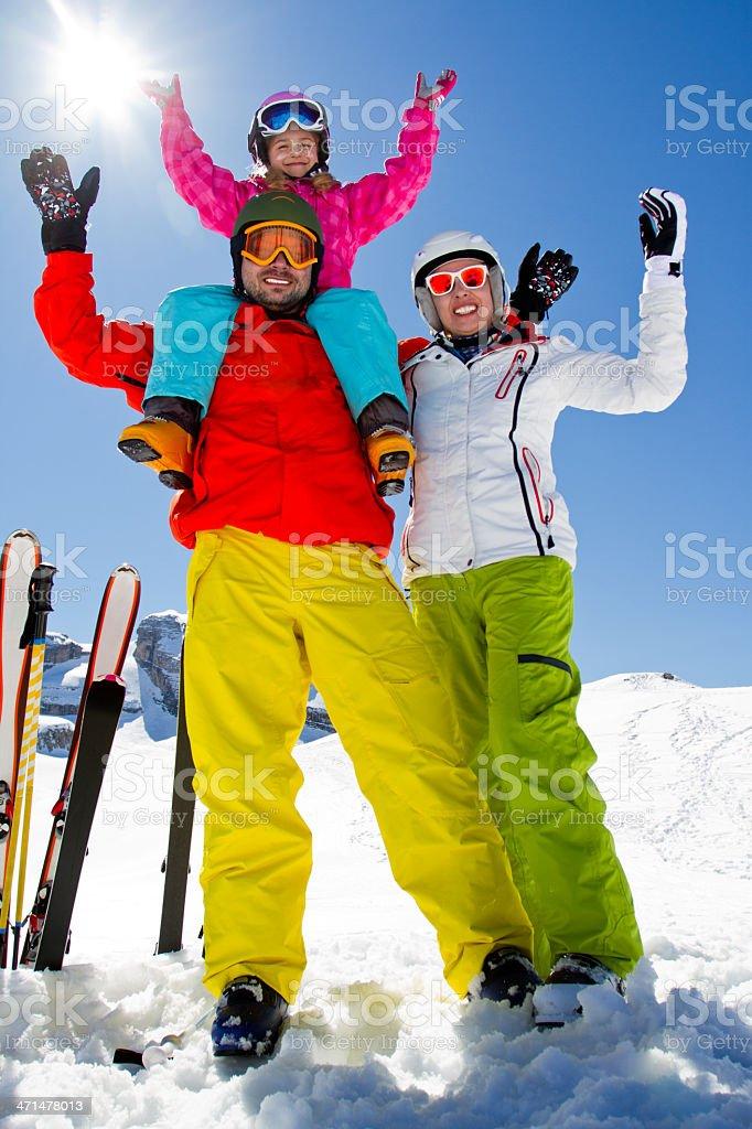 Ski family stock photo