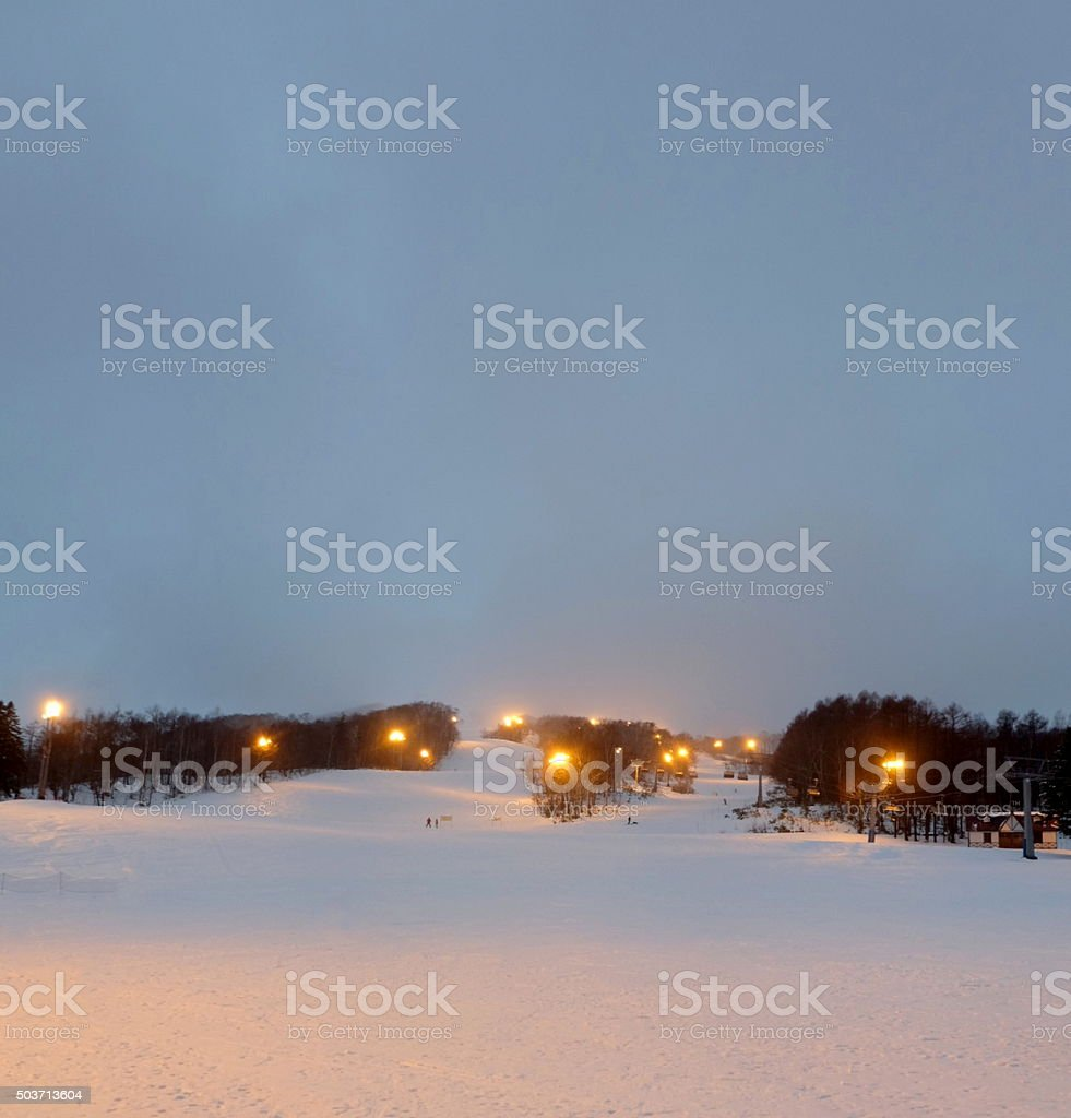 ski field in ski resort at dawn2 stock photo