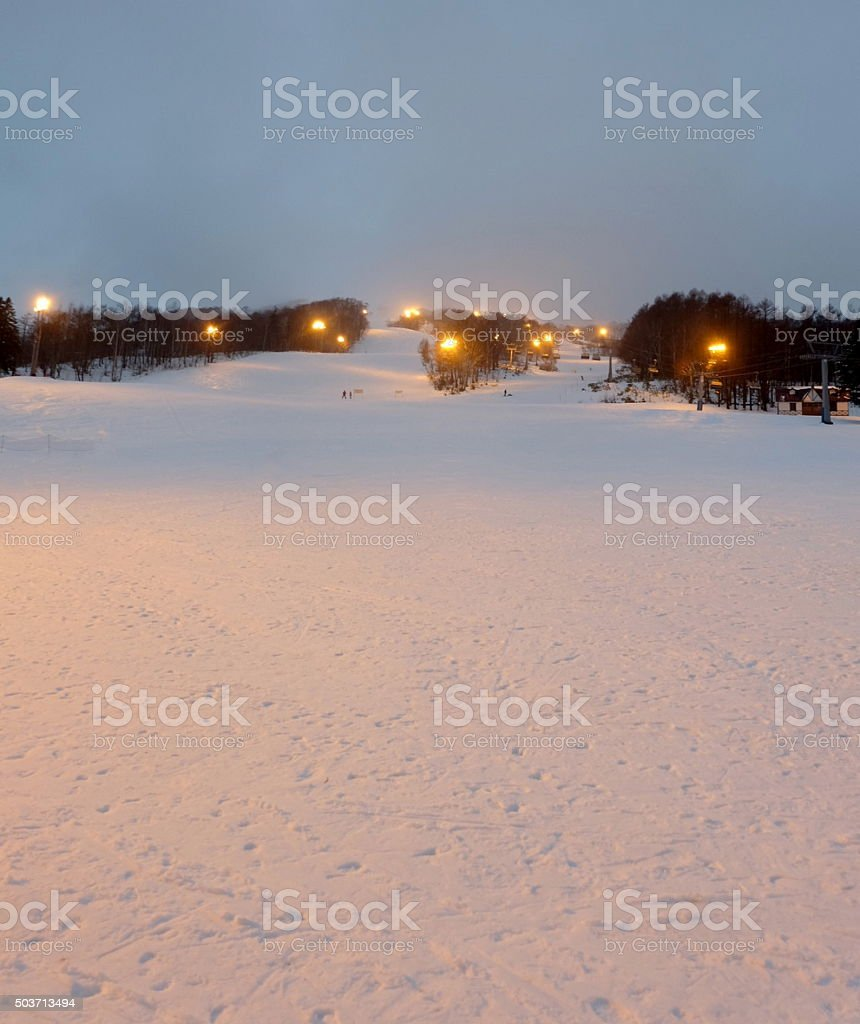ski field in ski resort at dawn3 stock photo
