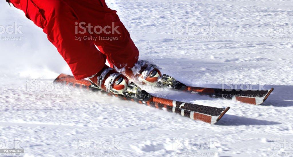 Ski finish in downhill stock photo