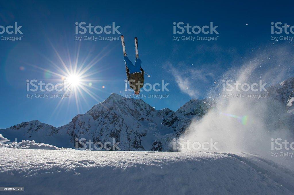 ski fre ride - ski cross action stock photo