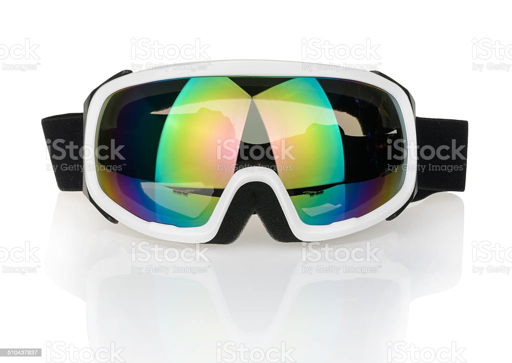 Ski glasses isolated on a white stock photo