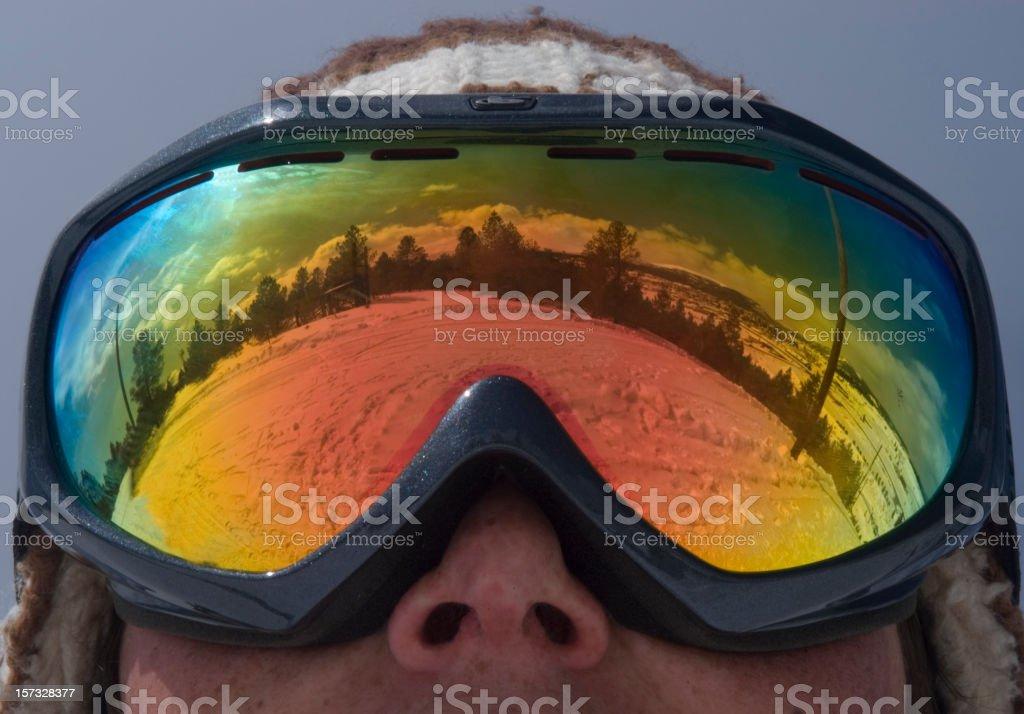 Ski Goggle Reflection stock photo