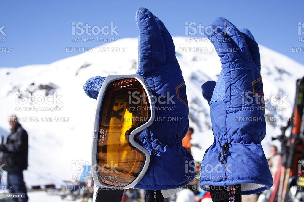 UVEX Ski goggles on gloves stock photo