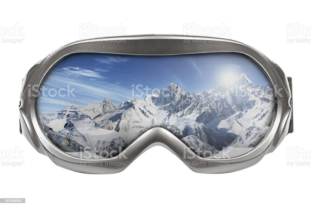 Ski goggles on white background with mountains reflecting stock photo