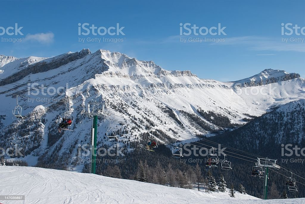Ski hill chairlift royalty-free stock photo