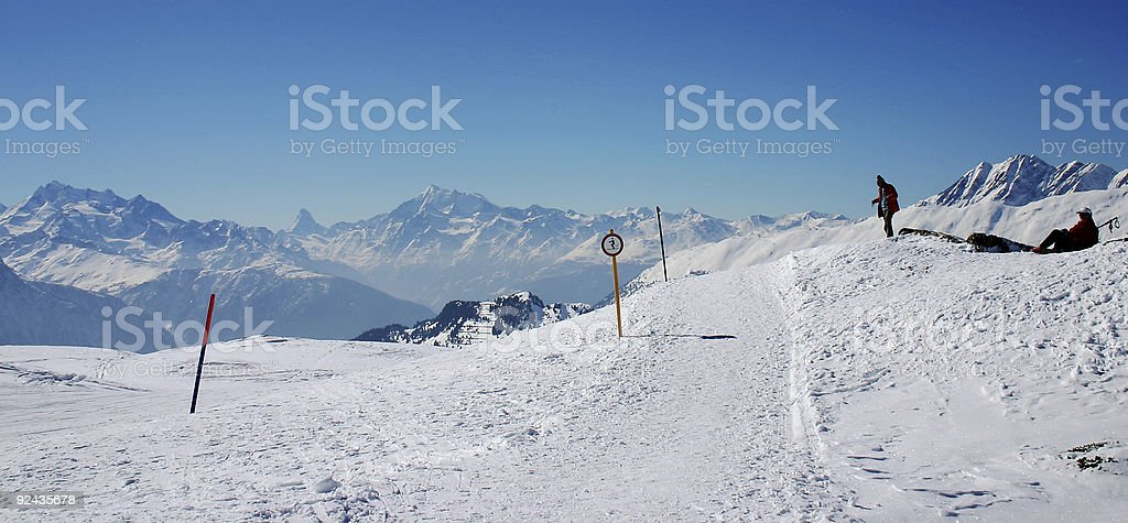 Ski holidays in Switzerland stock photo