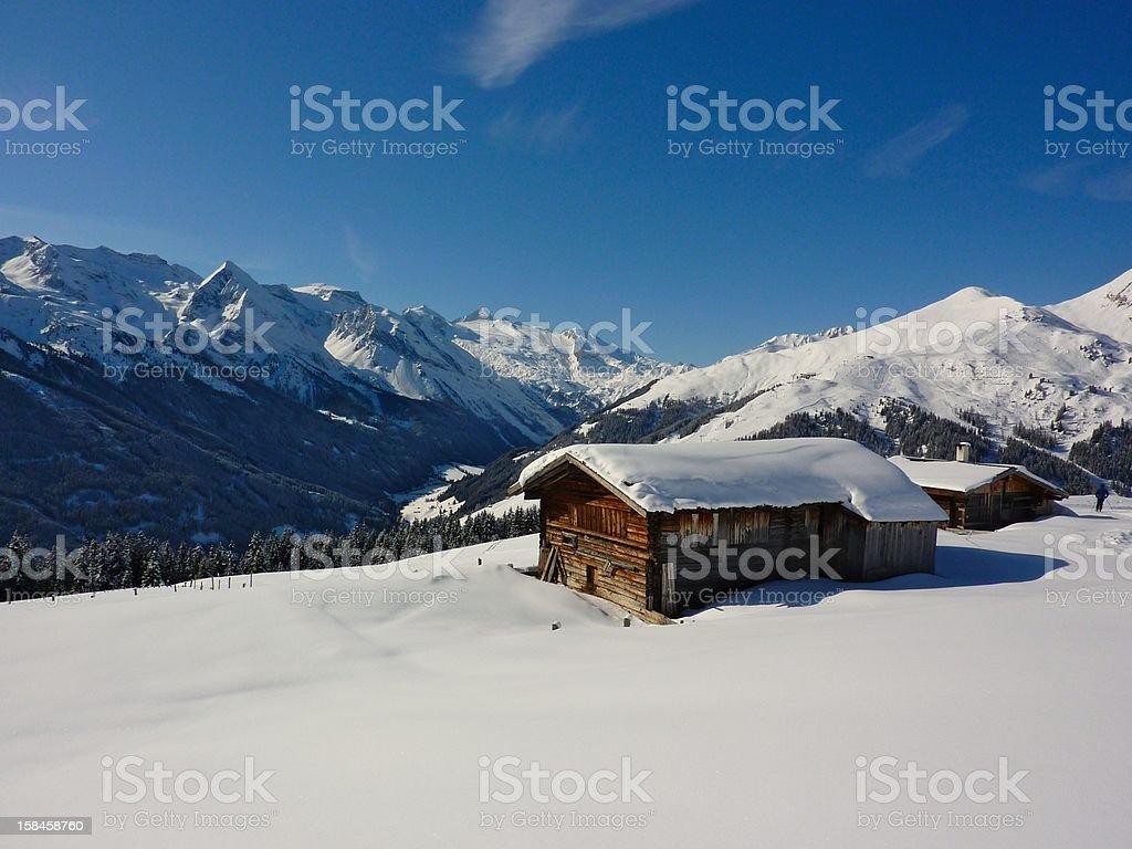 Ski hut in the alps stock photo
