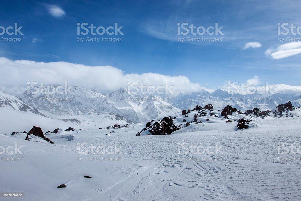 Ski in Elbrus region. stock photo
