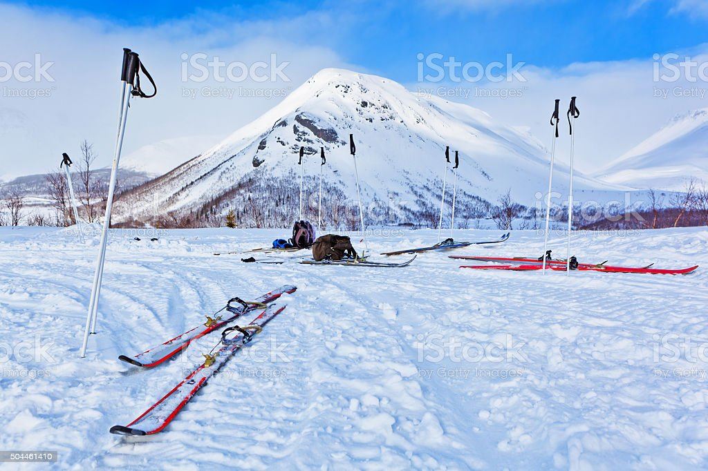 ski in the winter mountains in the background stock photo