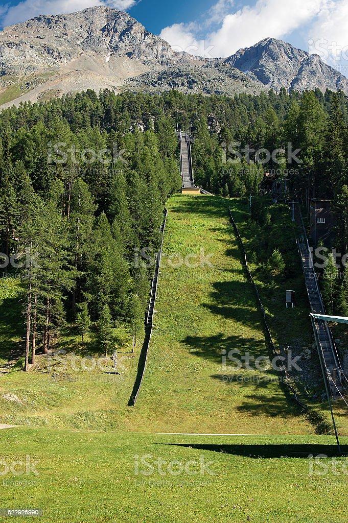 Ski Jump Area - Saint Moritz Switzerland stock photo