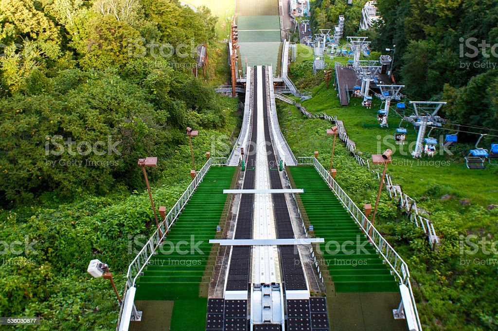 Ski jump in the summer time stock photo