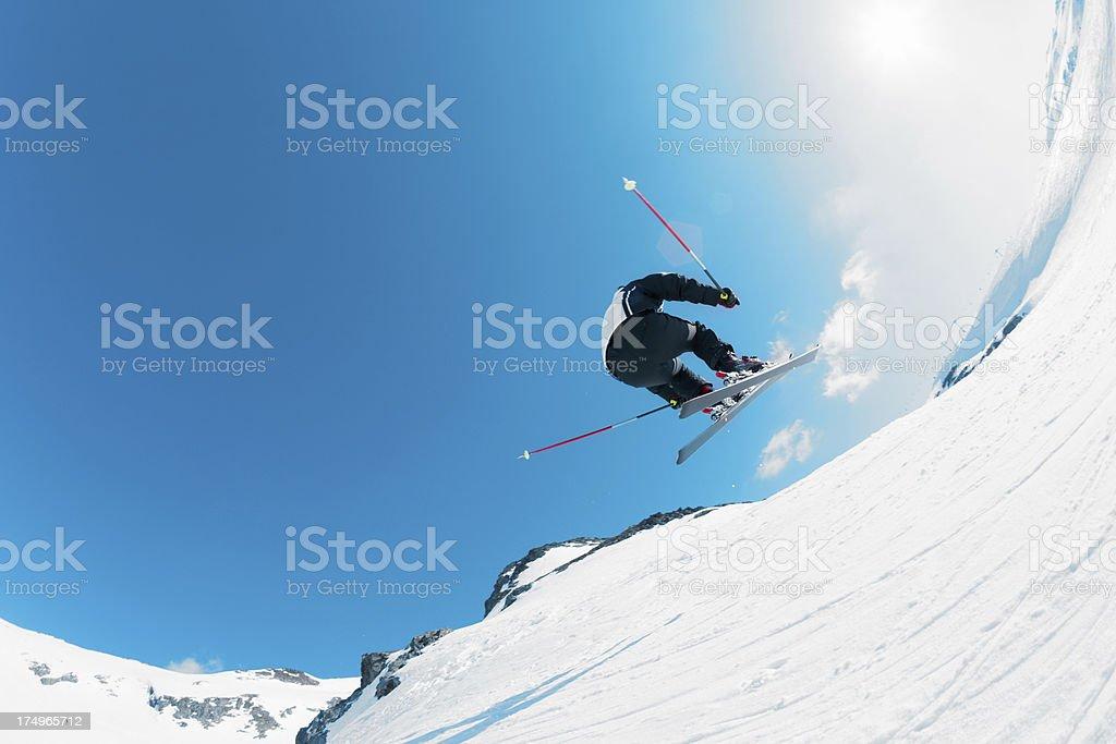 Ski jump on the snowy slopes stock photo