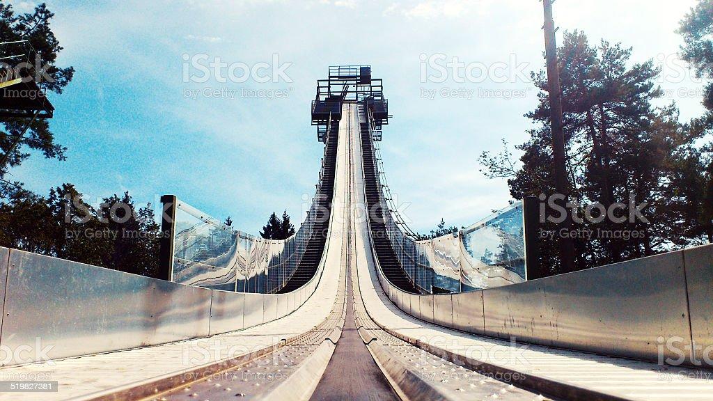 Ski jump run stock photo