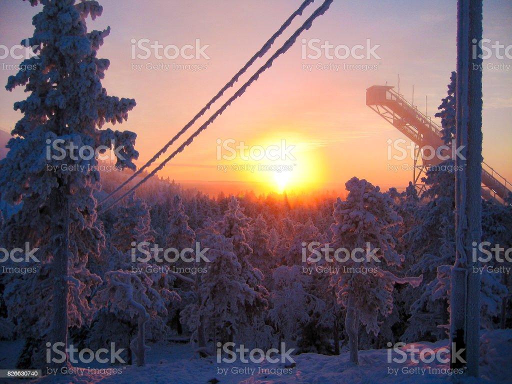 Ski jump tower stock photo