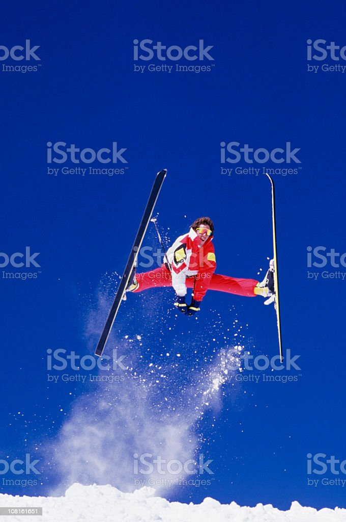 Ski Jumper Against Blue Sky royalty-free stock photo