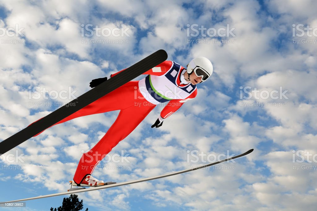 Ski jumper against the sky royalty-free stock photo