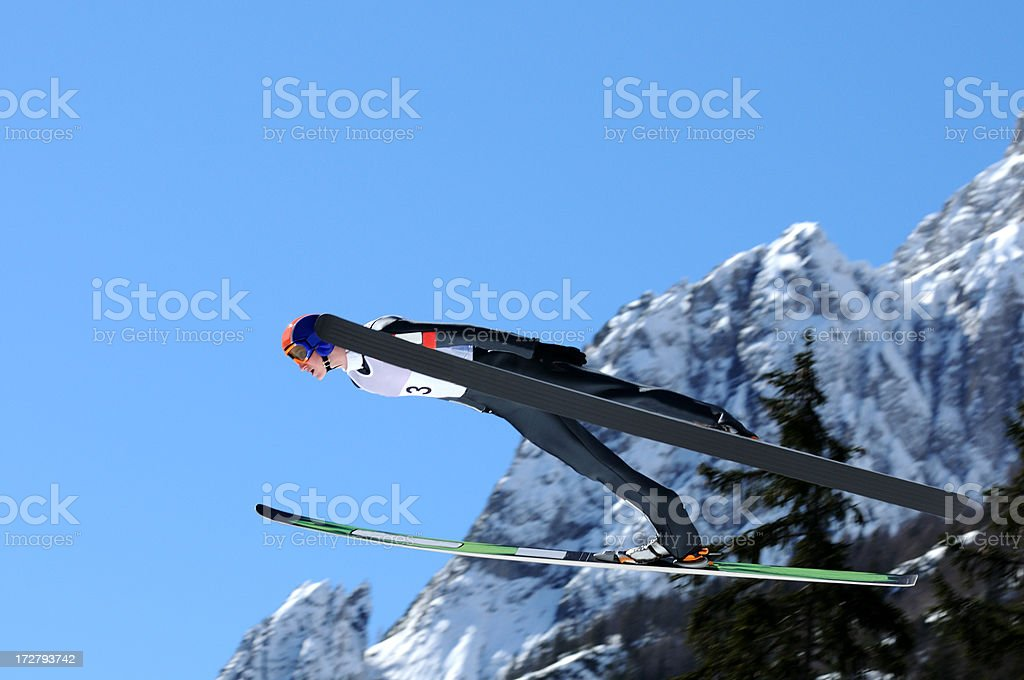 Ski jumper in the air royalty-free stock photo