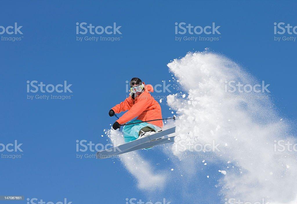 Ski Jumping In Powder Snow royalty-free stock photo
