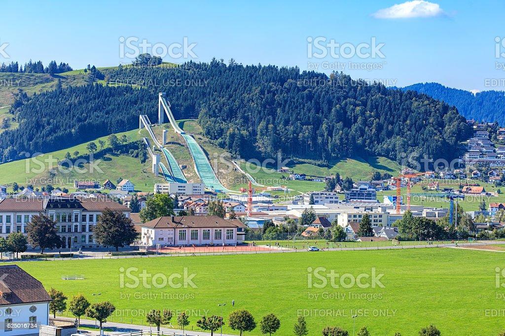 Ski jumping venue in Eschbach stock photo