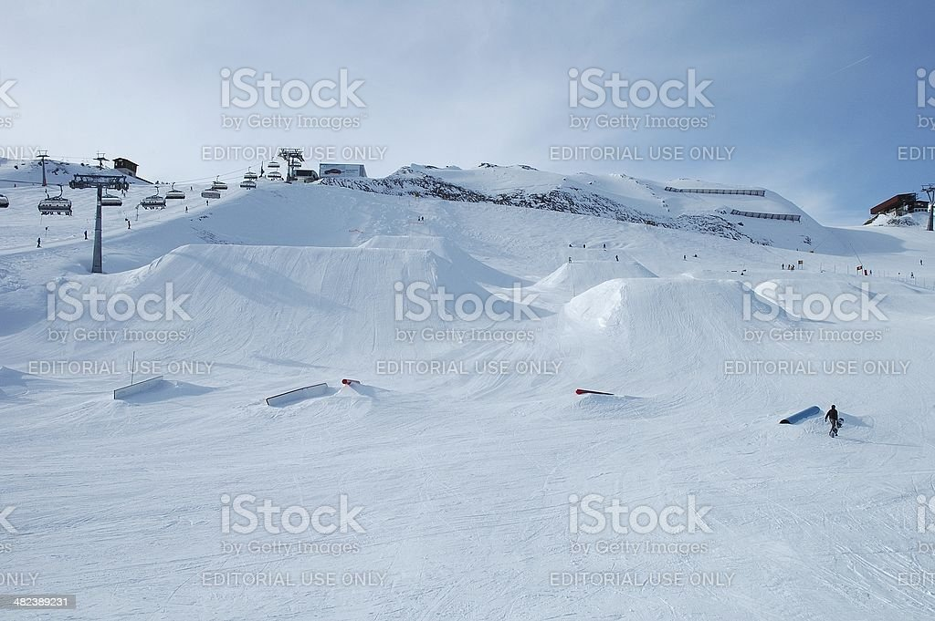 Ski jumps stock photo