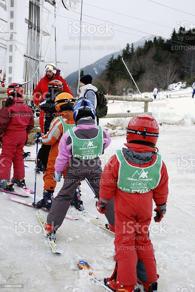 Ski lessons stock photo
