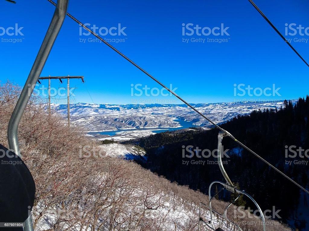 ski lift and mountains in Sundance stock photo