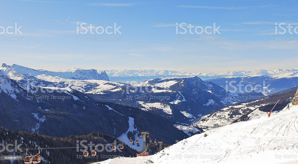 ski lift and panorama of Dolomites mountain, Italy stock photo