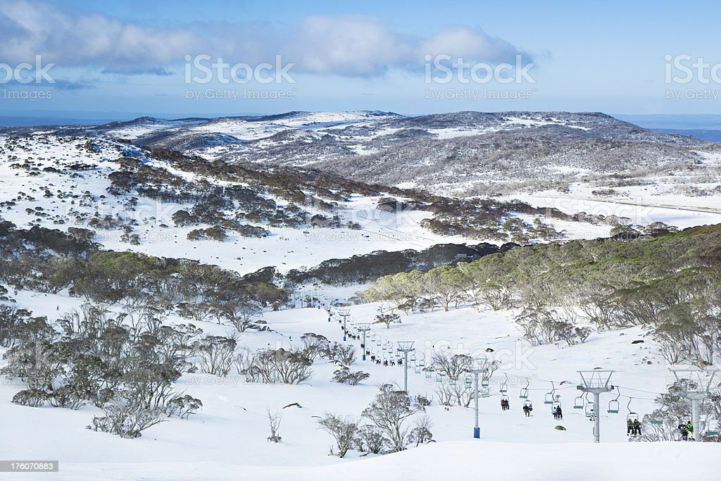 Ski Lift and Snowy Valley stock photo