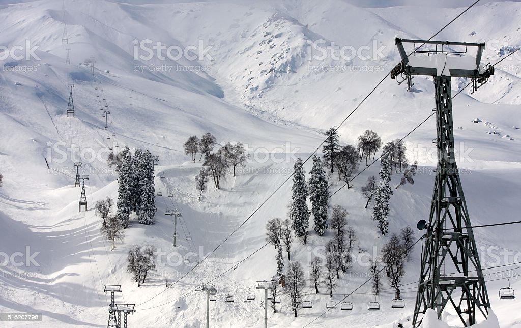 Ski Lift at Kashmir, India stock photo