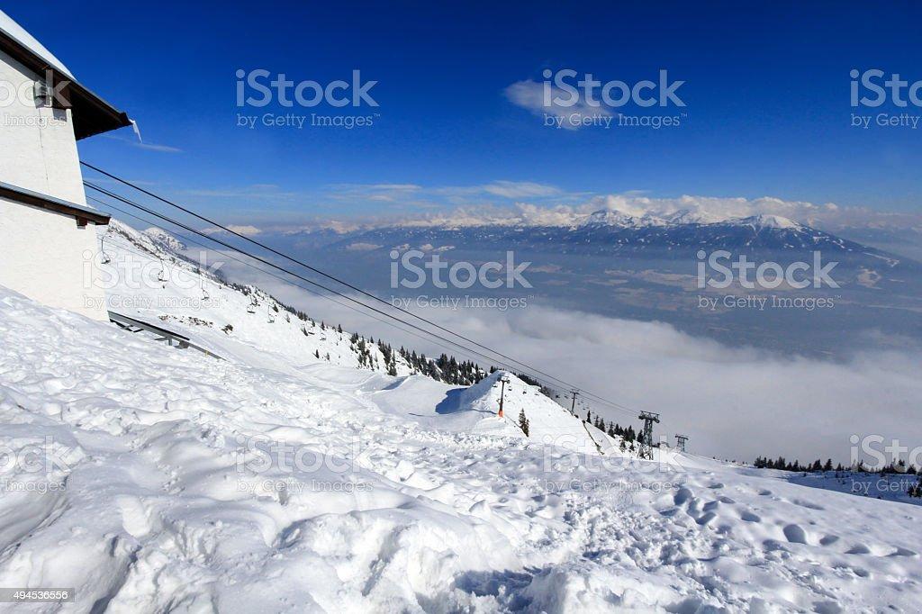 Ski lift at Nordkette mountain in Innsbruck, Austria stock photo