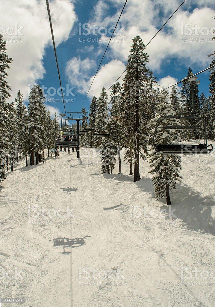 Ski Lift at Northstar stock photo